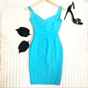 Blue Bandage cocktail Dress sweetheart neck curve